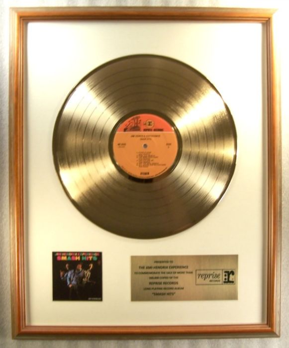 "Jimi Hendrix Experience - ""Smash Hits"" LP Gold Record Award Presented To The Jimi Hendrix Expderience - Prix officiel interne - 1968/1969"