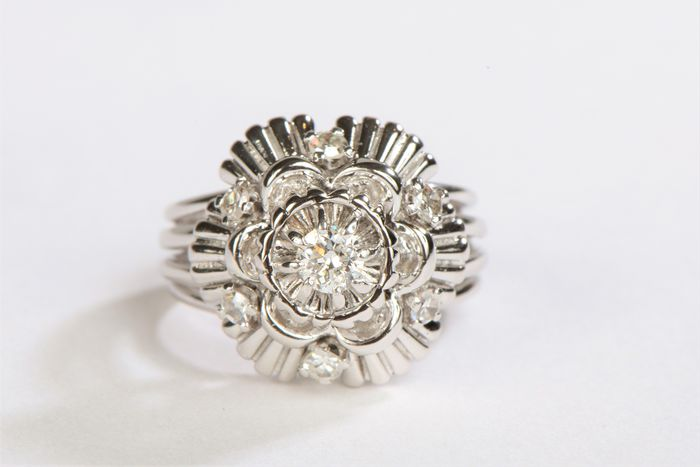 18 kts. White gold - Ring Diamond - Diamond