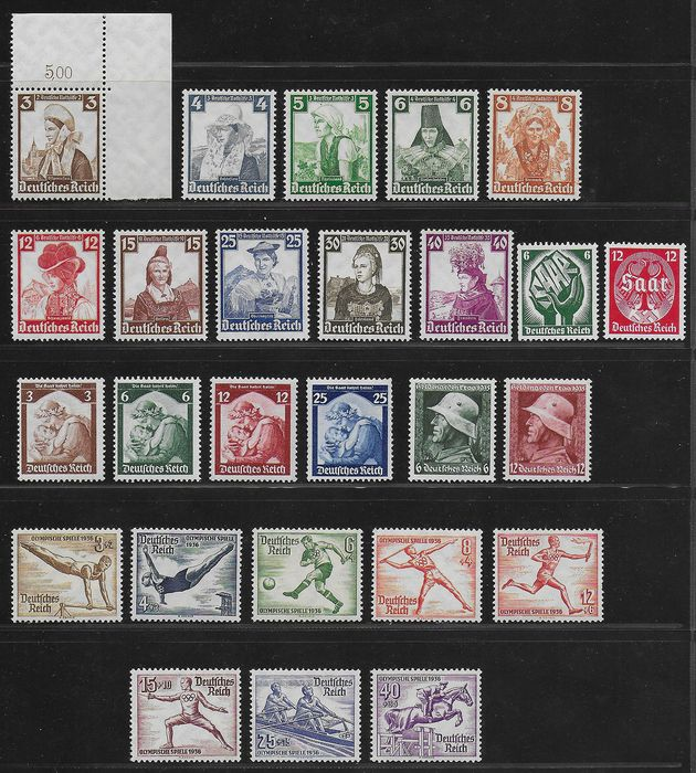 German Empire 1934/1936 - Better sets Reich - Michel 544 / 545, 565 / 568, 569 / 570, 588 / 597 and 609 / 616