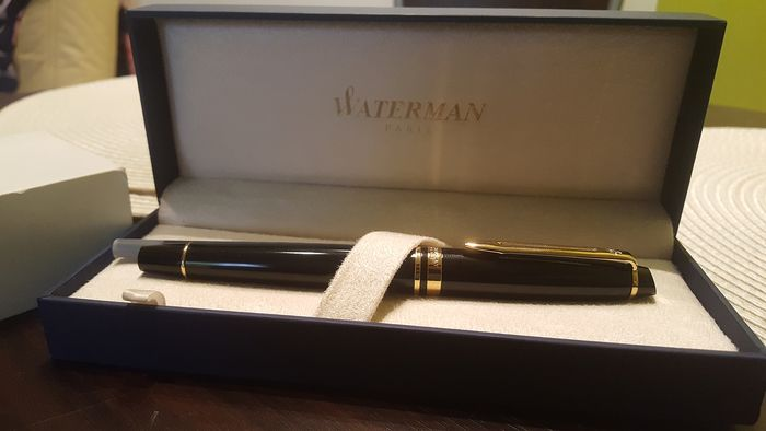 WATERMAN Paris [F]  - gold plated - Iridium nib + gilding - black - 1x used - Fountain pen