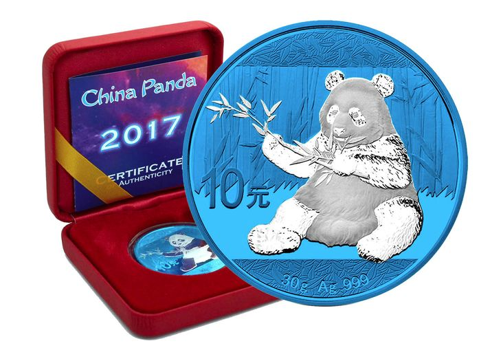 China - 10 Yuan 2017 Panda Space Blue Edition in Box und CoA - Zilver