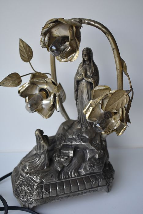 musique A.B. Suisse - music box / lamp - Appearance of Maria in Lourdes. (1) - metal alloy - glass - cable - wood