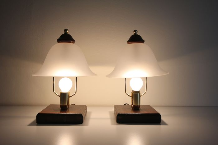 Pair of golden and glass steel table lamps - Satin glass, golden steel and wood