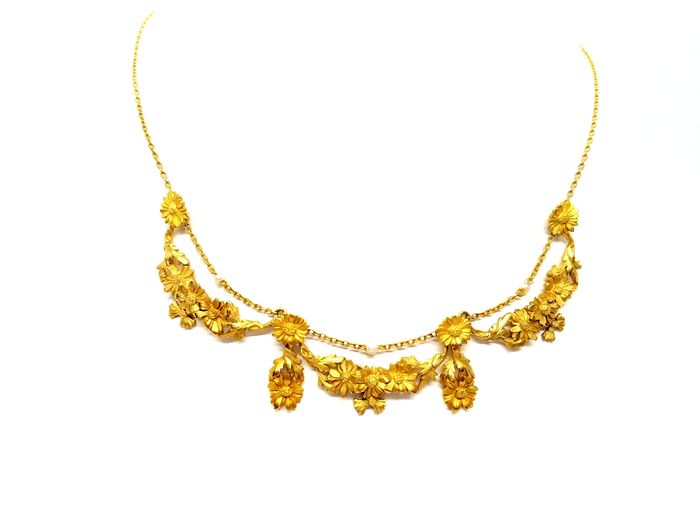 18 kts. Yellow gold - Necklace Pearl