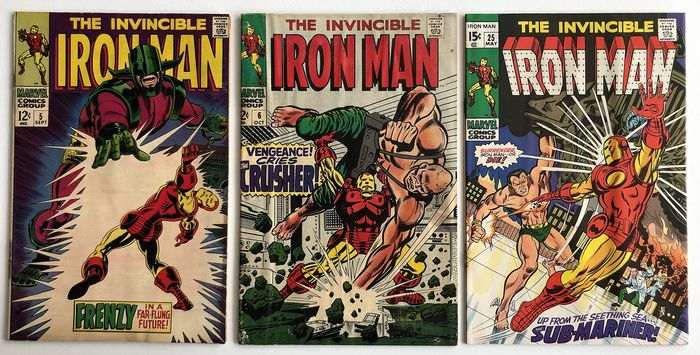 Iron Man #5, #6 & #25 - Krylla, Crusher, Submariner Appearance - Lower to Mid Grades!!! - Softcover - First edition - (1968/1970)