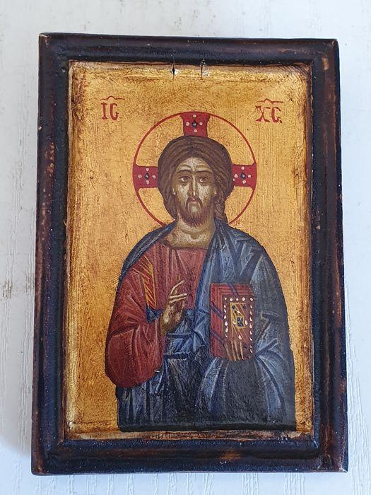 Orthodox icon Jesus Christ with the holy scriptures - oil painting on wood