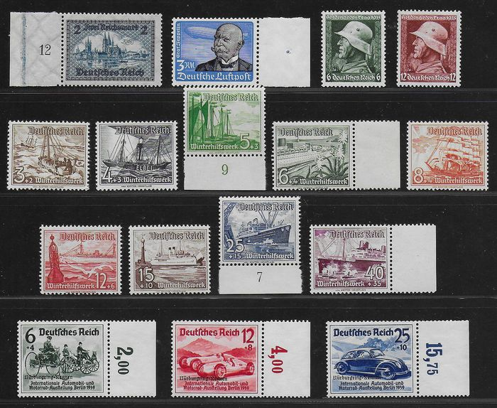 German Empire 1930/1939 - Better sets and singles Reich - Michel 440, 539, 569 / 570, 651 / 659 and 695 / 697
