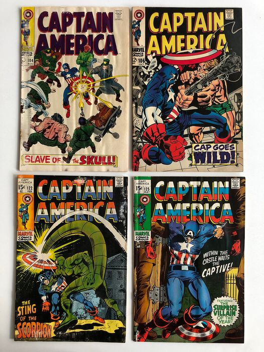 Captain America #104, #106, #122 & #125 - Red Skull, Mao Tse Tung, Scorpion Appearance - Half Page Ad For Silver Surfer #1 - Lower to Mid Grades!!! - Softcover - Erstausgabe - (1968/1970)