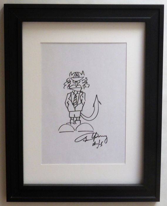 AC/DC - Angus Young Signed w/ Sketch Self portrait Framed Absolutely Stunning item! - Tekening - 2000/2000