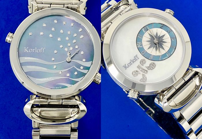 Korloff - Reversible Diamonds for 0,20 Carats 2 Timezones White Mother of Pearl Dial Swiss Made  - LM1/2BR - Dames - BRAND NEW