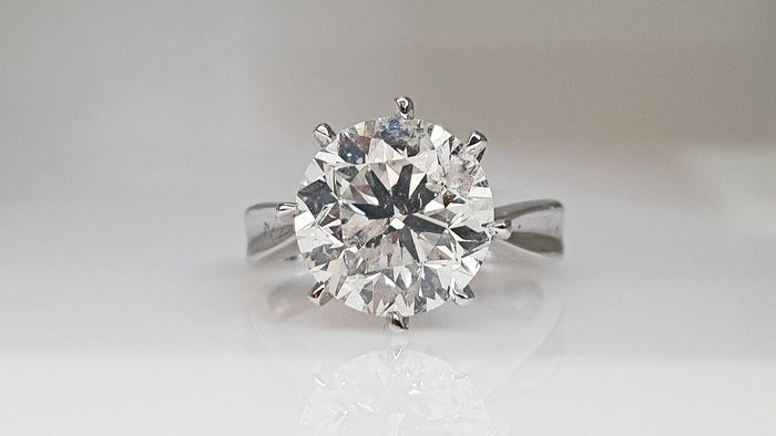 14 kt. White gold - Ring - Clarity enhanced 4.44 ct Diamond