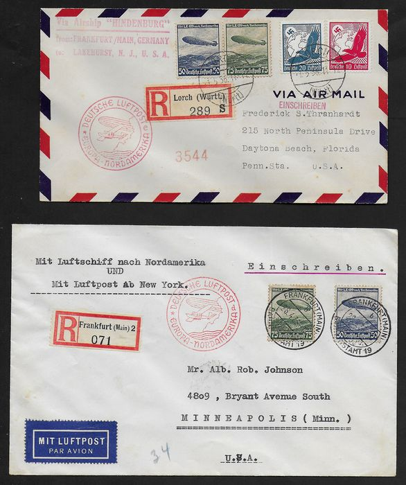German Empire 1936 - Europa-Nordamerikafahrt Zeppelin 2 registered letters