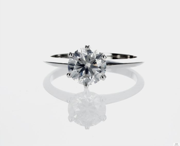 14 kt. White gold - Ring - 1.59 ct Diamond -  E/SI1