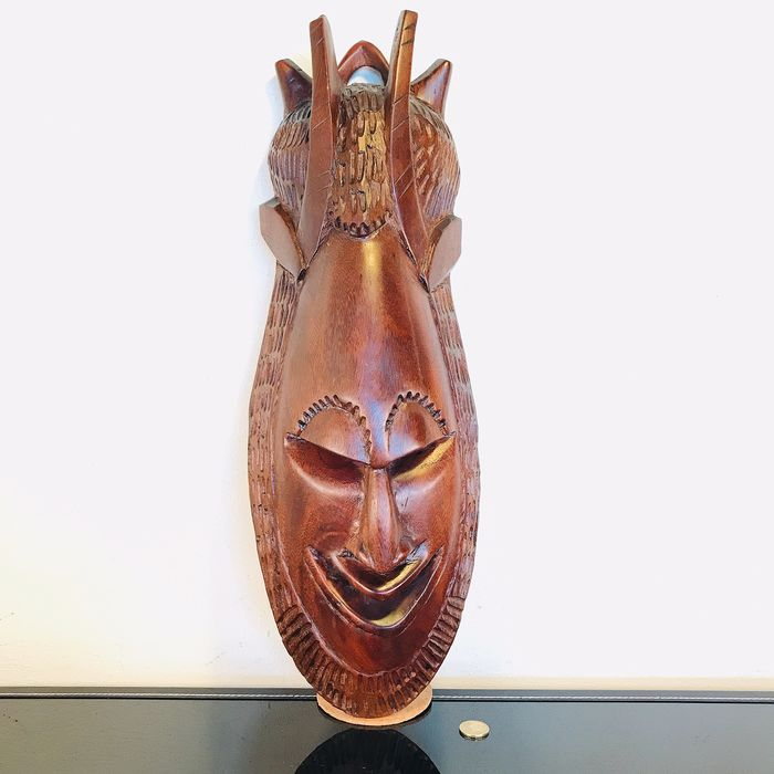 Large and heavy hardwood West African mask - 60 cm - Wood