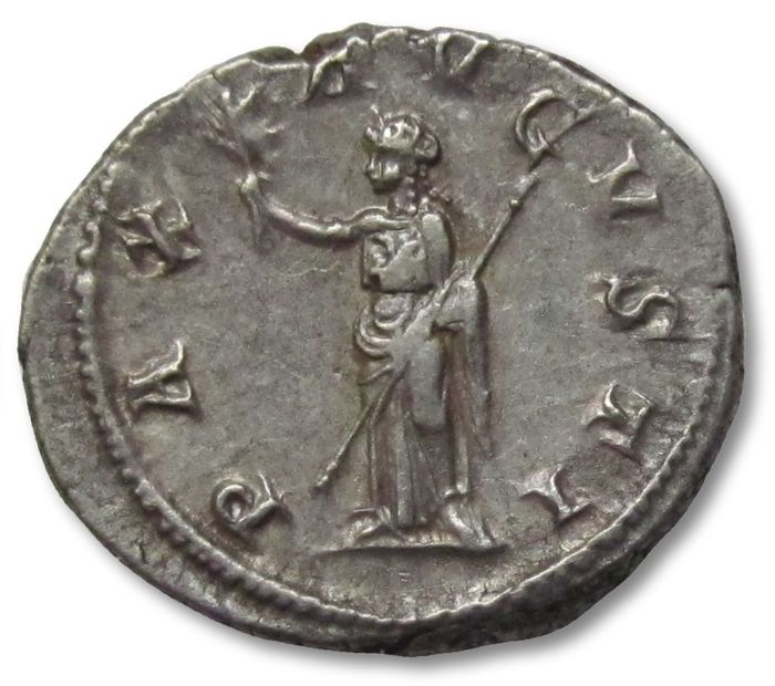 Roman Empire - AR Denarius - quality coin with attractive steelgrey toning - Maximinus I Thrax, Rome 235-236 A.D. - PAX AVGVSTI, Pax standing left - Silver