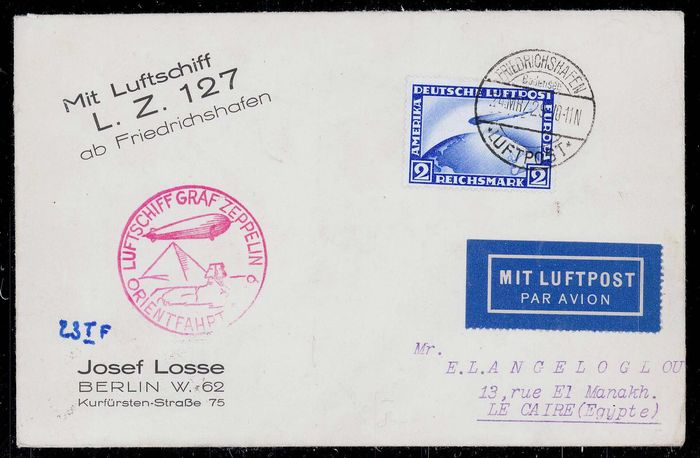 German Empire 1929 - Graf Zeppelin - Orient trip to Egypt - Letter with 2RM frankatur - Sieger 23A