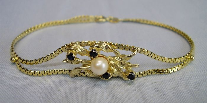 835 Gold-plated, Silver - Bracelet - 0.52 ct Sapphire - genuine white Akoya cultured pearl
