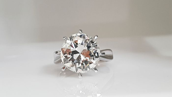 18 kt. White gold - Ring - Clarity enhanced 5.12 ct Diamond