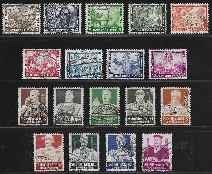 German Empire 1933/1934 - Wagner and Berufsstände - Michel 499 / 507 and 556 / 564