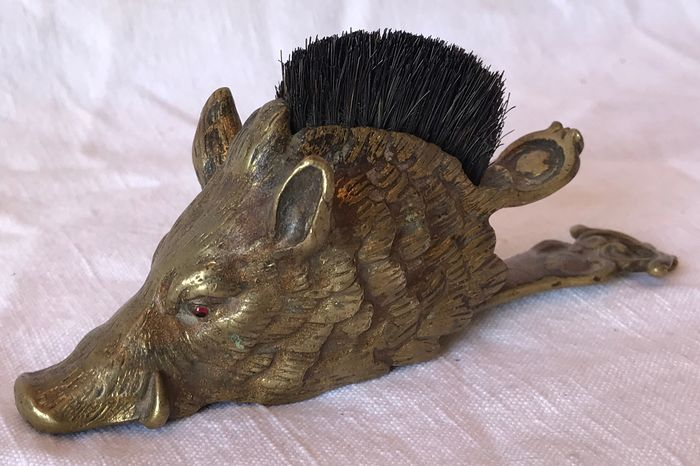 Victorian Boar's Head Pen Nib Brush & Paper Holder - Brass - Second half 19th century