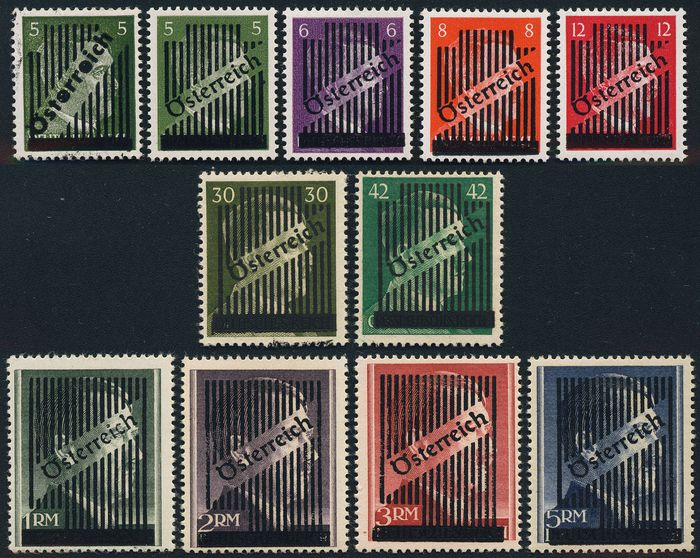 Austria 1945 - Set of grid overprint (11 values) complete - ANK (668-673 + RM)