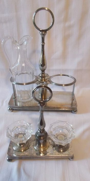 Christofle - Condiment rack / Salt and pepper shakers / Vinegar rack and cruet (3) - Silverplate, crystal and glass