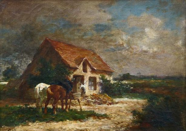 Emile Jacque (1848-1912) - Horses watering before a cottage