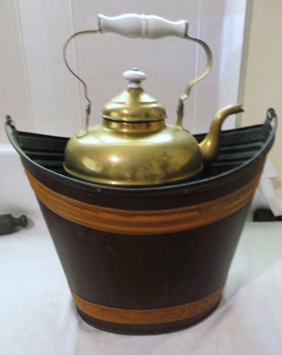 19th century tea stove with stove and kettle - Folk Art - copper iron