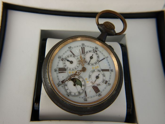 Swiss ulysse Nardin  pocket watch - 3 - Calendar with Moonphase - 63436 - Hombre - 1850 - 1900