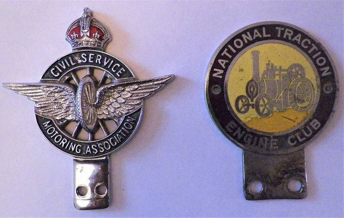 Emblem / mascot - 2 Metal Badges. 1 x Civil Service  Motoring Association, 1 x National Traction  Engine Club. 1940's - 1950