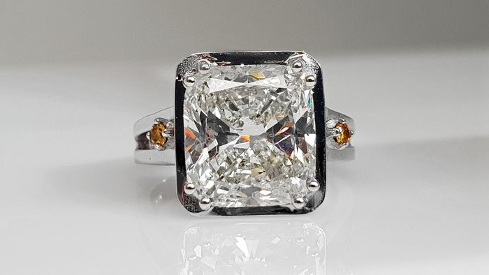 18 kt. White gold - Ring - Clarity enhanced 5.20 ct Diamond