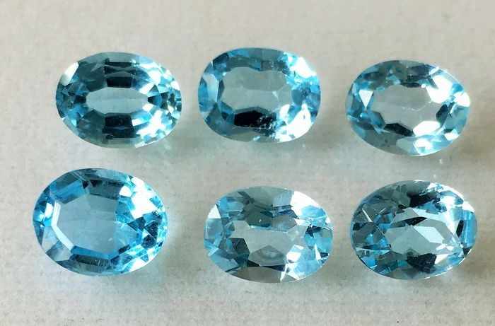 6 pcs Azul claro Topacio - 13.25 ct