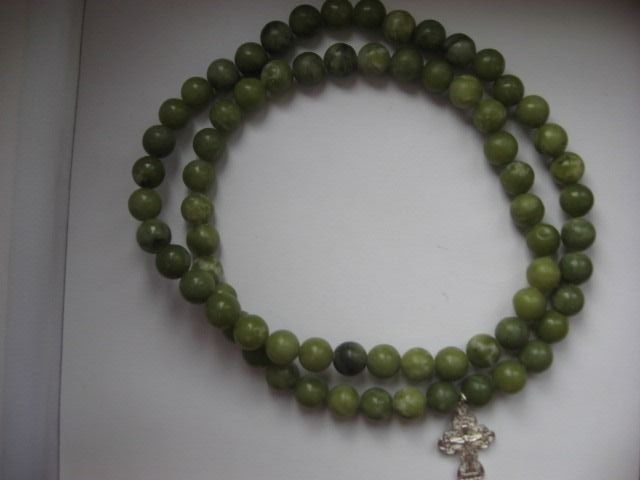 Necklace with cross - Nephrite