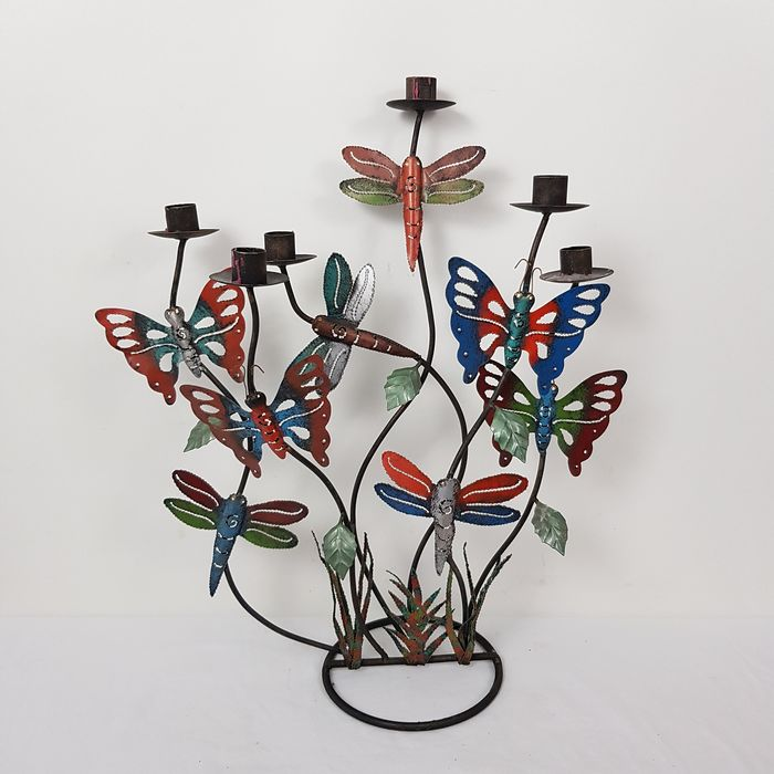 Floral candlestick with dragonflies and butterflies - Iron (cast/wrought)