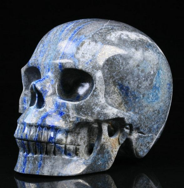 "Huge 5.1"" Lapis Lazuli Carved Skull Crystal - 5.1×3.8×3.2 in - 1540 g"