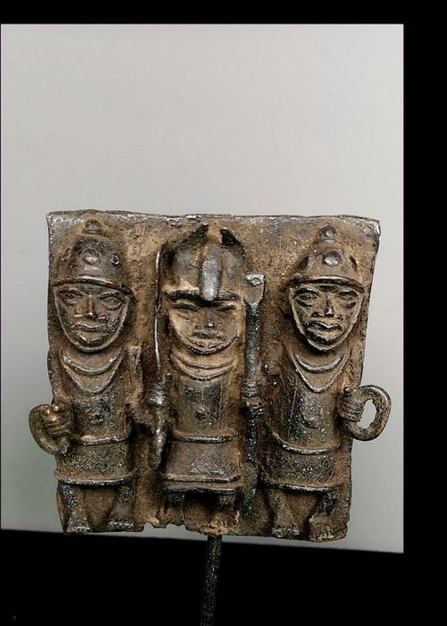 Oba bronze plaque from Benin with his king and his warriors - African bronze - Benin