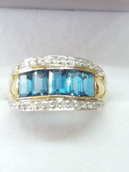 9k/9ct - Baguette Cut London Blue Topaz and Diamond Dress Ring