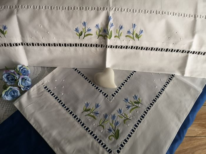 Bellavia cotton percale hand embroidery sheets - Cotton - new