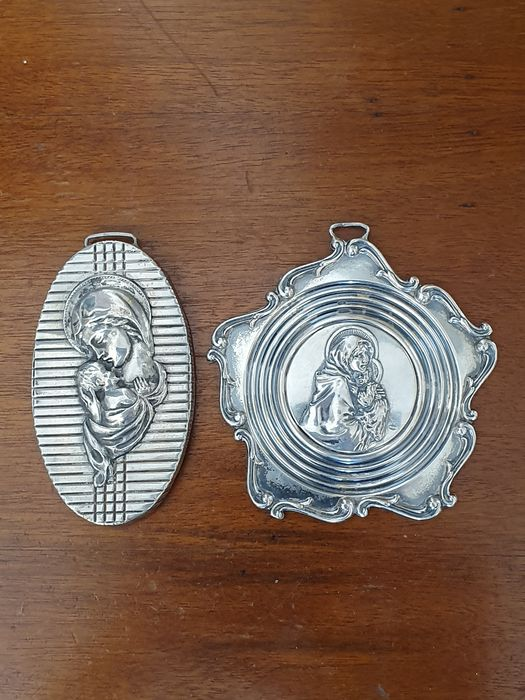 Plaque with Madonna and Child Jesus - Silver - Italy - Early 20th century