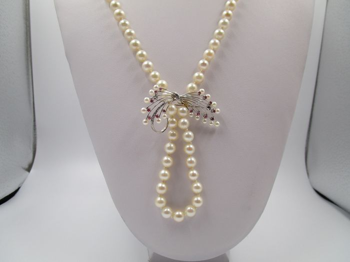 Collier / Perlenkette Ø 8mm  - 18 kt. Akoya pearls, White gold - Necklace - Amethysts, Pearls