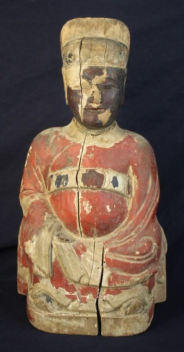 Figure - Wood - Extra large 36cmH Taoism dignity priest in Ming dynasty costume - China - Qing Dynasty (1644-1911)
