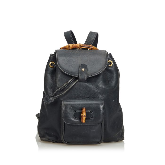 Gucci - Bamboo Leather Drawstring Backpack Rugzak