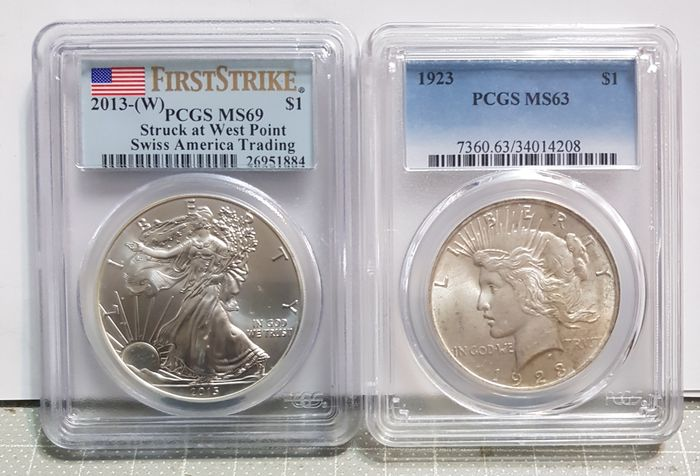 USA - Dollar (Peace) 1923 + Dollar 2013-W American Eagle (First Strike) in PCGS Slab - Silver