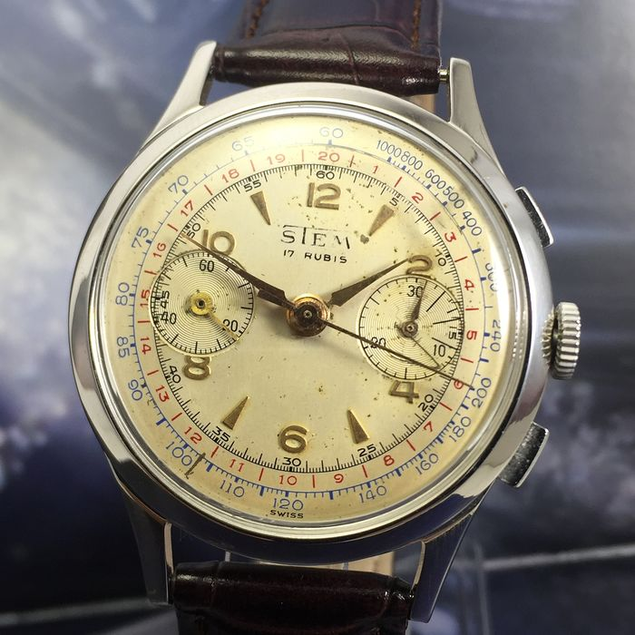 "STEM - Chronograph Landeron 51 - ""NO RESERVE PRICE"" - Men - 1950-1959"