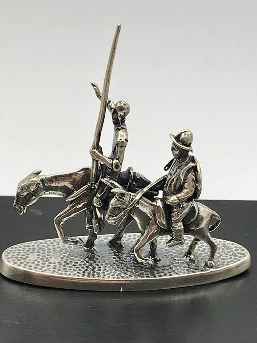 Gebr. Niekerk Schoonhoven - Large Handmade Dutch silver miniature Don Quixote and Sancho Panza - Silver