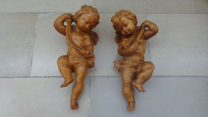 Holzengel Guardian Angel Cupid with Bow + Angel with Instrument? Wall figure sculpture (2) - Wood
