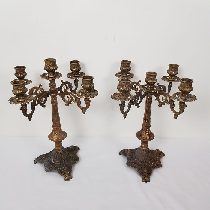 Two imaginative candlesticks - copper/bronze
