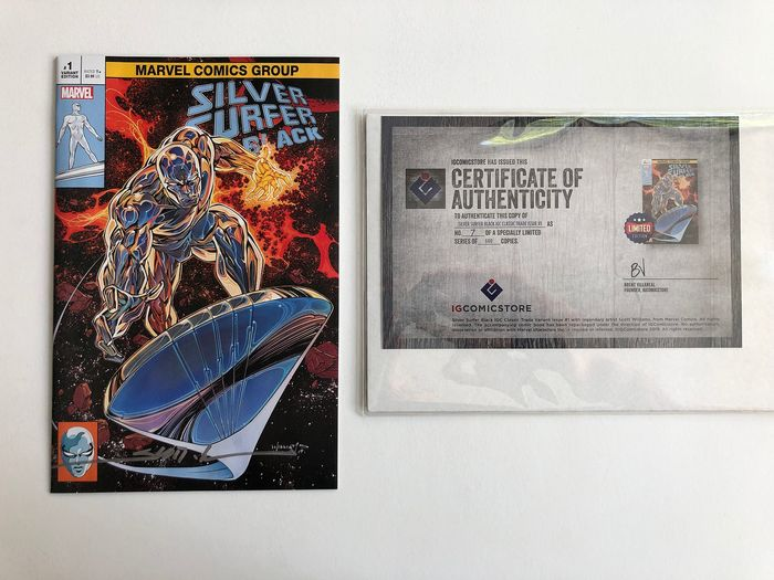 The Silver Surfer Black #1 - Very Rare Scott Williams Variant - Signed & Numbered - Extremely High Grade!! - Only 600 copies - Softcover - Erstausgabe - (2019)
