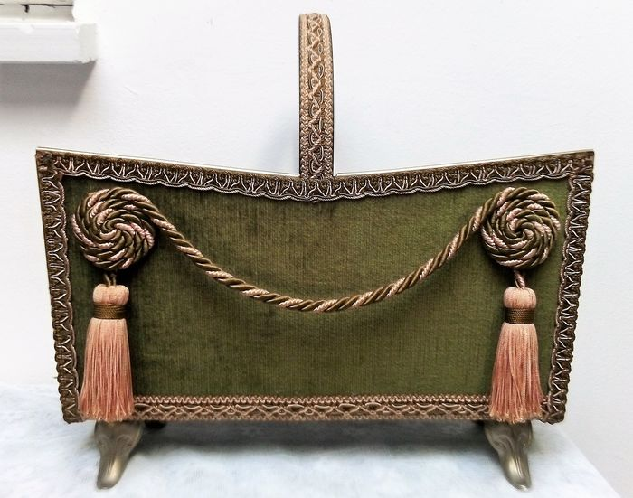 Old, luxury, French magazine / magazine holder with Boucle and tassels carried by legs - Napoleon III style - metal with fabric