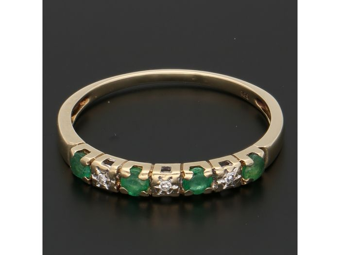 14 kt. Gold - Ring - 0.01 ct Diamond - Emerald